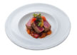 Tuna with stewed peppers and citrus fruits